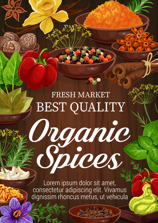Organic spices and herbs on wooden background. Pepper, rosemary and thyme, green basil, vanilla and cinnamon, nutmeg, garlic and star anise, bay leaf, saffron and turmeric. Seasoning elements