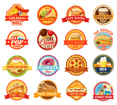 Fast food icons. Burger, pizza and fries, donut, hot dog and soda, ice cream, chicken nuggets and mexican taco, nacho and popcorn elements. Coffee shop and bistro design
