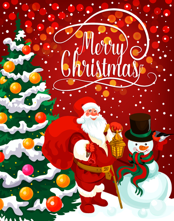 Christmas holiday greeting card of New Year celebration. Santa Claus with gift bag and snowman with Xmas tree, decorated by lights, ball and snowflake, bauble and snow for Xmas festive poster design Illustration