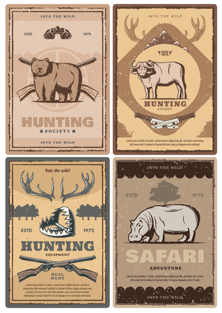 Hunting sport club and african safari tour vintage banner of wild animal and equipment. Bear, buffalo and hippo with gun target, rifle and knife, antlers, trap and binocular. Vector retro style