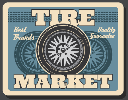 Spare car wheel banner with tire track. Tire fitting and repair service, vintage style poster 일러스트