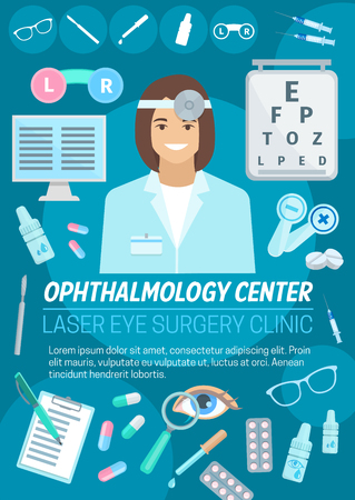 Ophthalmology medical clinic. Ophthalmologist doctor and treatment. Optometrist with eye, lens and glasses, eyesight test chart, eye drops and pill. Medicine theme design 일러스트
