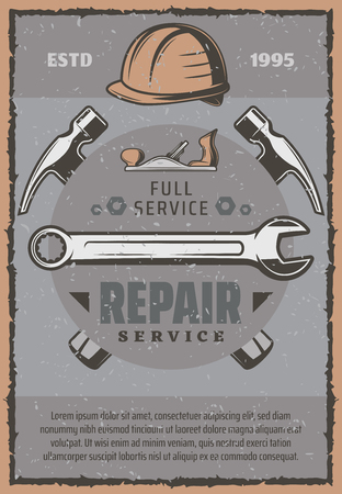 Repair service work tools and items. Hammers, wrench and spanner, hard hat, jack plane and screw tools. Construction, carpentry and building company theme Illustration