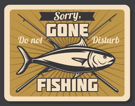 Bandera retro de pesca con peces y caña giratoria. Afición al aire libre, actividad recreativa y cartel vintage del club deportivo de pescadores Ilustración de vector