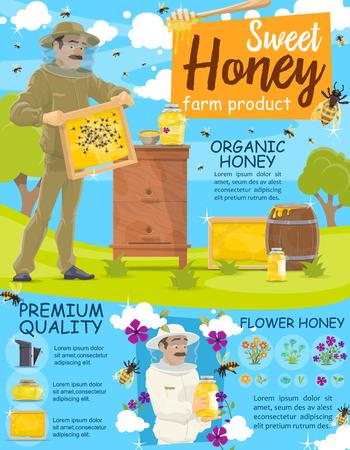 Apicultor cosechando miel en colmenar. Granja apícola. Apicultor comprobar marcos de cartel de colmena con tarro de miel, flores y panal. Alimentos dulces, diseño de temas de apicultura.