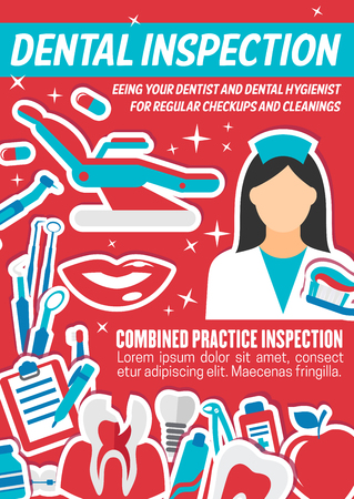 Dentist doctor, oral hygiene tool and diagnostic instrument banner with tooth, implant and braces, toothpaste and toothbrush. Dental medical poster, dentistry clinic promotion