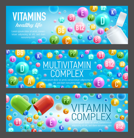 Multivitamin complex of vitamin and mineral pills. Bottle and open capsule with poured out colorful pill of A retinol, C ascorbic acid and B group vitamin. Food supplement and health care design Stock fotó - 108230674