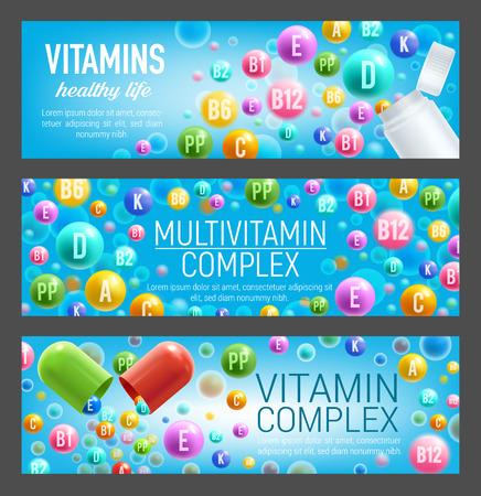 Multivitamin-Komplex aus Vitamin- und Mineralpillen. Flasche und offene Kapsel mit ausgegossener bunter Pille aus A-Retinol, C-Ascorbinsäure und Vitamin B-Gruppe. Nahrungsergänzungsmittel und Gesundheitsdesign