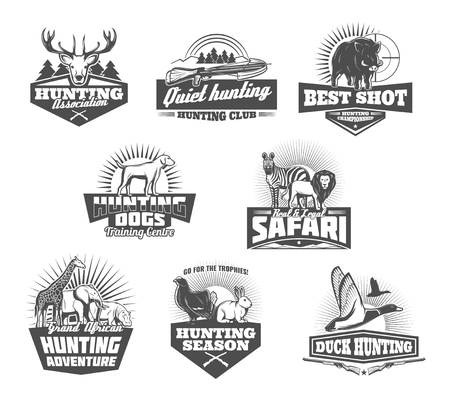 Hunting retro icons of african safari and hunter sport club. Wild animals and birds black and white badges with huntsman rifle target, shotgun and dog, antler and crossbow. Hunting sport theme design