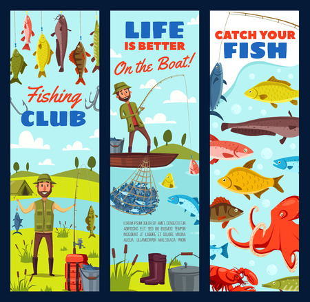 Fishing sport club banners with fish catch and fisher equipment. Fisherman on fishing with rod, hook and boat, lure, bait and tackle, carp, perch and pike. Outdoor leisure activity design