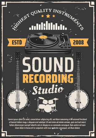 Music recording studio retro poster, musical instrument and equipment. Drum set, vinyl record player and banjo vintage banner with sound equalizer. Recording and audio production theme design