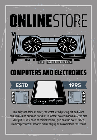 Computer part store electronic devices. Memory card, power bank and video card digital gadget in retro style, electronics online shop or repair service advertising design