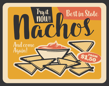 Nachos with sauce vintage banner of mexican cuisine fast food restaurant snack. Tortilla chip, served with chilli pepper salsa, plate of spicy appetizers retro grunge poster for menu design