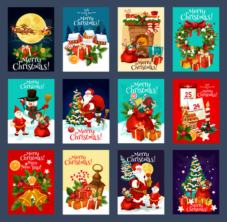 Weihnachts- und Neujahrsgrußkarte mit festlichen Weihnachtssymbolen. Schneemann, Weihnachtsmann und Geschenk, Weihnachtsbaum, Stechpalmenkranz, Schneeflocke und Glocke, Geschenk, Süßigkeiten und Kekse für Winterurlaubsdesign