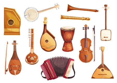 Folk music instruments watercolor icons of string, wind and percussion. Ethnic sitar, balalaika and djembe drum, banjo, viola and flute, zither, accordion, shamisen and bandura symbols Illustration