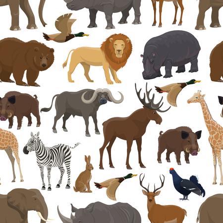 Dzikie zwierzę i ptak wzór tła do projektowania motywów sportu polowania. Leśny jeleń, niedźwiedź i kaczka, słoń afrykański safari, lew i żyrafa, nosorożec, hipopotam i zebra, zając, łoś i dzik