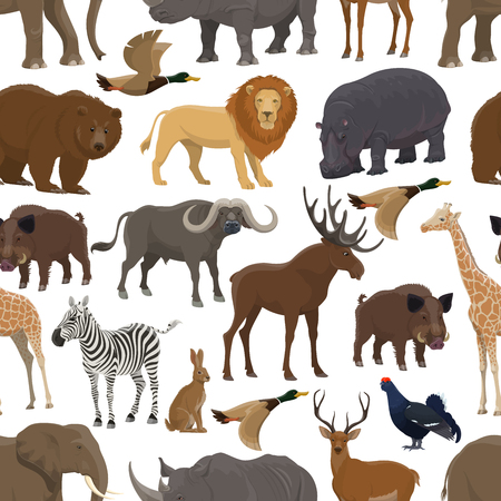Wild animal and bird seamless pattern background for hunting sport themes design. Forest deer, bear and duck, african safari elephant, lion and giraffe, rhino, hippo and zebra, hare, elk and boar