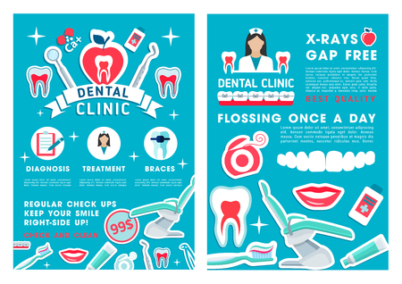 Dental clinic design with dentist check up, teeth diagnostics and treatment. Dentistry medicine special price posters with tooth, braces and floss, dental tool, toothbrush and toothpaste Illusztráció