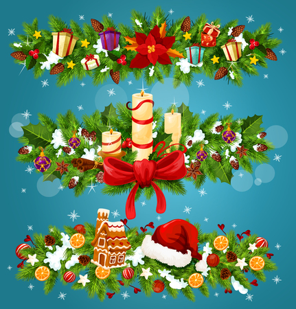 Christmas tree and holly berry garland for New Year winter holidays greeting card. Xmas festive border with candle, ribbon bow and gift, Santa hat, ball and star, snowflake, lights and cookie  イラスト・ベクター素材