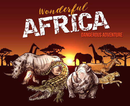African animals. Elephant, giraffe and rhino, crocodile, jaguar and antelope sketch banner with sunrise over savannah nature landscape. Safari adventure tour and hunting sport design.