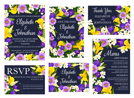 Wedding floral card, invitation and save the date, thank you, RSVP and menu template. Festive flower banner with bouquet and frame of spring crocus, calla lily and blooming branch of jasmine plant Foto de archivo - 110027849