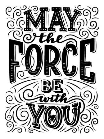 Möge die Macht mit dir sein Schriftzug. Motivationszitat oder inspirierender Slogan. Handgezeichnete monochrome Kalligraphie, verziert mit Herzen und geschwungener Linie Vektorgrafik