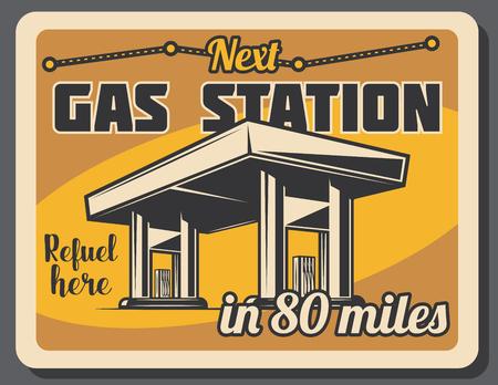 Bannière rétro de station essence, essence ou essence. Affiche vintage de l'industrie des transports et de l'énergie avec pompe à pétrole, station-service ou conception de service de voiture