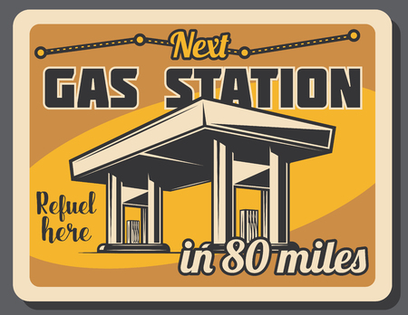 Gas, petrol or gasoline fuel station retro banner. Transportation and energy industry vintage poster with petroleum pump, filling station or car service design