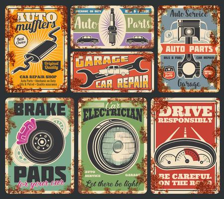 Garage or car repair service rusty metal banner. Vehicle mechanic workshop. Vintage automobile, wheel and piston, spanner, spark plug and engine part retro grunge poster, transportation design
