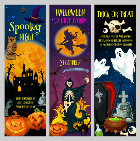 Horror night scary ghost, pumpkin and witch, haunted house, skeleton skull and full moon, zombie and cemetery. Halloween holiday greetings, trick or treat party design