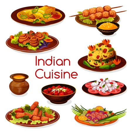 Indian cuisine traditional dishes with meat and fish. Vegetarian rice pilaf with grilled chicken and baked fish, tomato fish, vegetable and chicken salad, carrot pudding and fruit dessert Stock Vector - 110027855