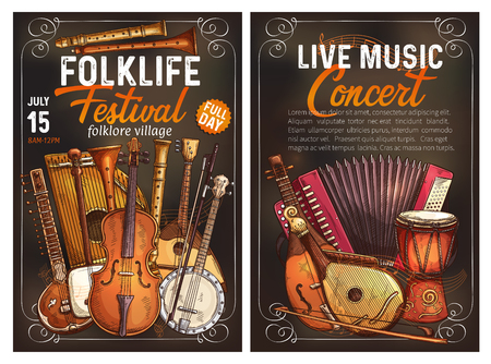 Folk music festival live concert invitation poster with ethnic musical instrument. Viola, drum and sitar, balalaika, banjo and flute, shamisen, zither and accordion, bandura and rebec. Sketch banner Ilustração