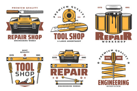 Repair work tools icons. House construction, carpentry and paint service. Old screwdriver, roller and toolbox, tape measure, ruler, knife and wood rasp vintage icons