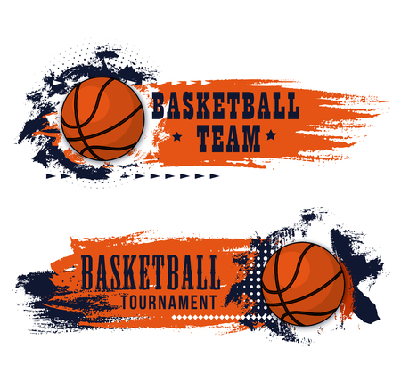 Basketball game banner, team competition design. Ball with orange and blue paint brush stroke, decorated by star. Basketball tournament match ticket, invitation flyer
