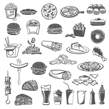 Fast food lunch snack, drinks and desserts isolated icons. Burger, hamburger and pizza, hot dog, fries and egg sandwich, chicken nuggets, coffee and donut, soda, taco, burrito and nacho Standard-Bild - 110027858