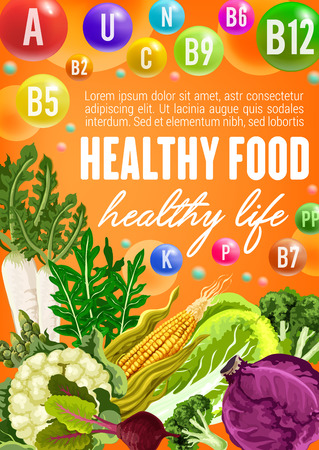 Cabbage, broccoli and asparagus, corn, radish and green arugula, cauliflower and beet, vitamin and mineral. Healthy vegetarian food, vegetable, spice, herbs and vitamins