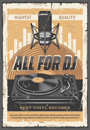 Microfono vintage e giradischi in vinile per DJ vecchio banner grunge, volantino discoteca e design di temi di intrattenimento. Poster di invito a una festa di musica retrò con dischi in vinile DJ Vettoriali
