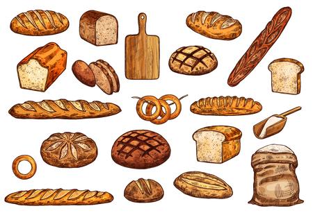 Chleb i słodkie wypieki szkic zestaw cukierni żywności. Pszenica, żyto i długi bochenek chleba, bagietki, tosty i bajgiel, worek mąki i deska do krojenia na białym tle ikony. Obiekty piekarnicze