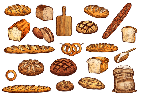 Bread and sweet pastry sketch set of pastry shop food. Wheat, rye and long loaf bread, baguette, toast and bagel, flour bag and cutting board isolated icons. Bakery objects