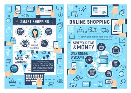 Achats intelligents en ligne et commerce électronique. Ordinateur portable, tablette ou téléphone mobile avec icônes de ligne mince de magasin en ligne de panier d'achat, carte d'argent et de livraison, commande en ligne, paiement et assistance