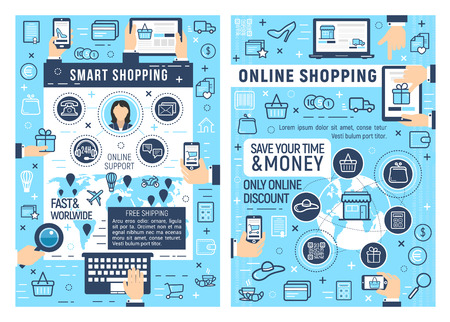 Online smart shopping and e-commerce business. Laptop, tablet or mobile phone with web store thin line icons of shopping cart, money and delivery map, online order, payment and support Ilustracja