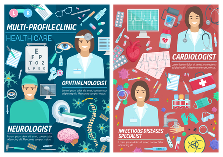 Doctors in cardiology, ophthalmology or neurology medicine and infectious disease specialist staff. Vector professions of ophthalmologist, cardiologist and neurologist doctor with medical items