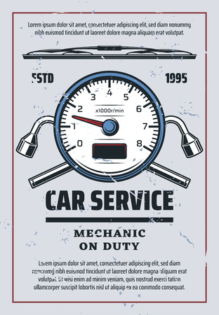 Car service or auto spare parts store. Vector retro design of tire pumping pressure manometer and lug wrench, windshield scraper. Transport mechanic repair station theme Illustration