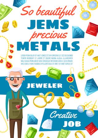 Profession de bijoutier, homme expert en joaillerie et pierres précieuses. Gemmes de dessin animé de vecteur, bagues en or et colliers bijou, boucles d'oreilles avec des cristaux de rubis, saphir et émeraudes