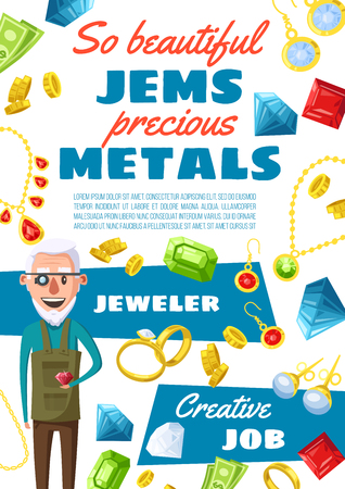Jeweler profession, man expert in jewelry and gemstones. Vector cartoon gems, golden rings and bijou necklaces, earrings with crystals of ruby, sapphire and emeralds