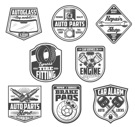 Car service, auto spare parts store icons. Vector windshield autoglass, engine valve or wrench and spanner tool, tire fitting station or plug with brake pads and alarm keys. Mechanic repair theme