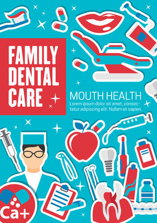 Family dental clinic poster, dentistry medical center. Vector advertisement design of dentist implants and orthodontic braces, apple or smile and pills or toothbrush, white smile teeth 일러스트