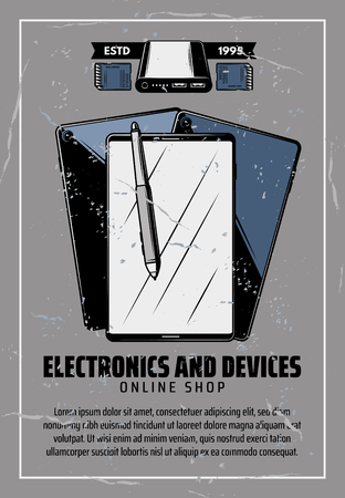 Electronic devices and smart appliances, smartphone or tablet and stylus pen and portable disk drive or SD memory card. Vector vintage design, online shopping advertisement