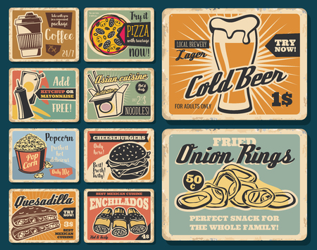 Fast food snacks and meals. Fastfood cafe, restaurant or bistro menu. Vector vintage posters of coffee, beer or Asian noodles, popcorn and onion rings, burger and Mexican enchilada and quesadilla Standard-Bild - 109985263