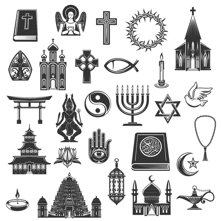 World religions symbols and religious signs. Vector Christianity crucifix cross and Orthodox or Catholic bible, Judaism star and Islam Koran, temple and menorah, mosque and torii gate, dove and hamsa, yin yang and angel